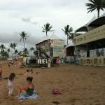 Geschlossene Tribunen nach dem Surfwettbewerb